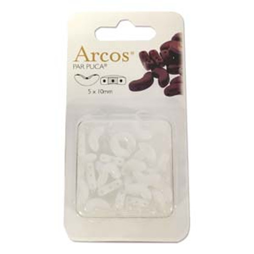 ARC510-03000 - 5x10mm - Les Perles Par Puca - Opaque White - 5gm Card (approx 21 beads) - Glass Arcos