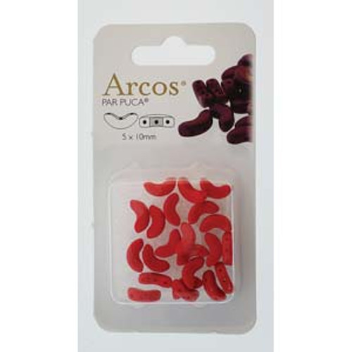 ARC510-93200 - 5x10mm - Les Perles Par Puca - Opaque Coral Red - 5gm Card (approx 21 beads) - Glass Arcos