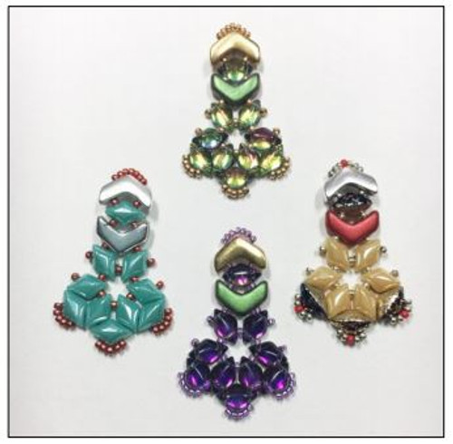 Free Download Pattern - Chevron Gemduo earrings - designed by Leslie Rogalski