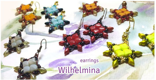 Free Download Pattern - Wilhelmina Earrings - designed by Michaela Pašková