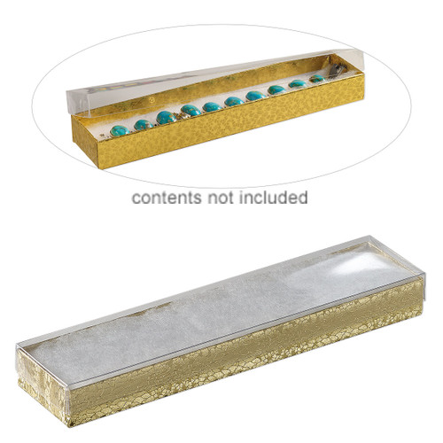 Box, plastic and paper, cotton-filled, gold and clear, 8-1/8 x 1-7/8 x 7/8 inch rectangle. Sold per pkg of 10.