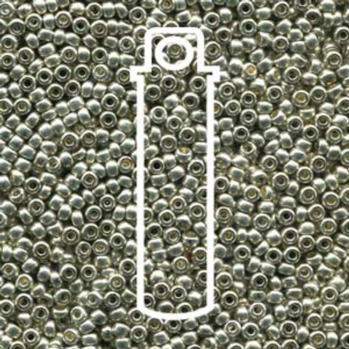 "11-18503 - 11/0 - Czech Beads - Met Silver - 24gm, 5"" Vial - Glass  Round Seed Bead"