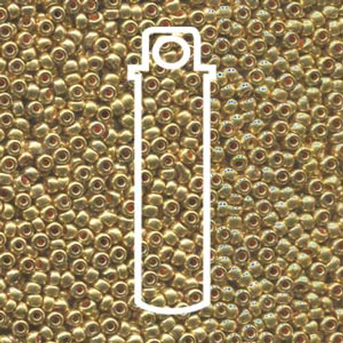 "11-18581 - 11/0 - Czech Beads - Met Gold - 24gm, 5"" Vial - Glass  Round Seed Bead"