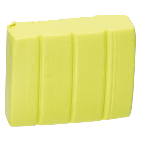 Polymer clay, Premo! Sculpey Accents®, fluorescent yellow. Sold per 2-ounce bar.