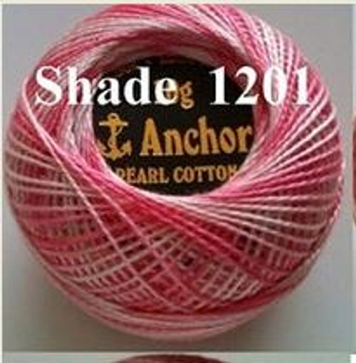 Anchor Pearl Crochet Cotton Size 8 - 10gm Ball - Variegated (1201)