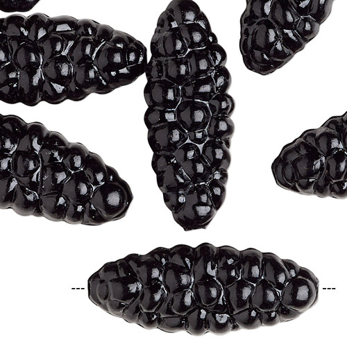Bead, vintage German acrylic, opaque black, 29x12mm-30x12mm textured flat oval. Sold per pkg of 10.