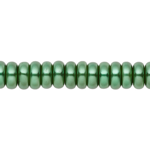 8x3mm - Celestial Crystal® - Forrest Green - 2 Strands - Rondelle Glass Pearl