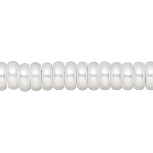 8x3mm - Celestial Crystal® - White - 2 Strands - Rondelle Glass Pearl