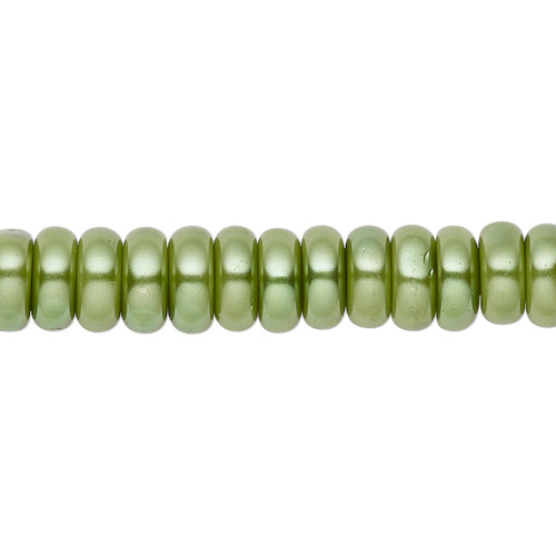 8x3mm - Celestial Crystal® - Medium Green - 2 Strands - Rondelle Glass Pearl