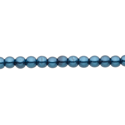 4mm - Celestial Crystal® - Teal - 2 Strands - Round Glass Pearl
