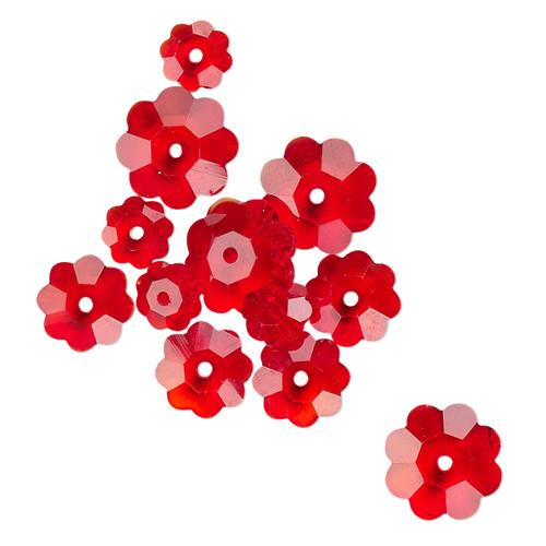 10x3.5mm / 8x3mm / 6x2mm - Celestial Crystal® - Transparent Red - 12 Pack - Margarita Flower