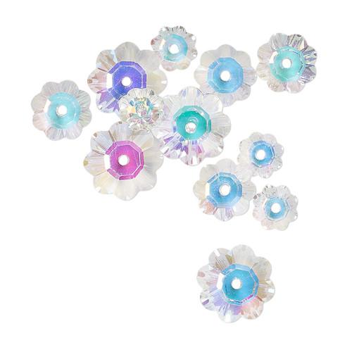 10x3.5mm / 8x3mm / 6x2mm - Celestial Crystal® - Clear AB - 12 Pack - Margarita Flower