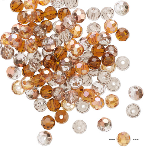 4mm - Celestial Crystal® - Fall Mix - 100 Pack  - Faceted Round