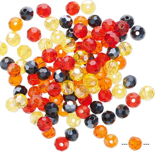 4mm - Celestial Crystal® - Fire Mix - 100 Pack  - Faceted Round