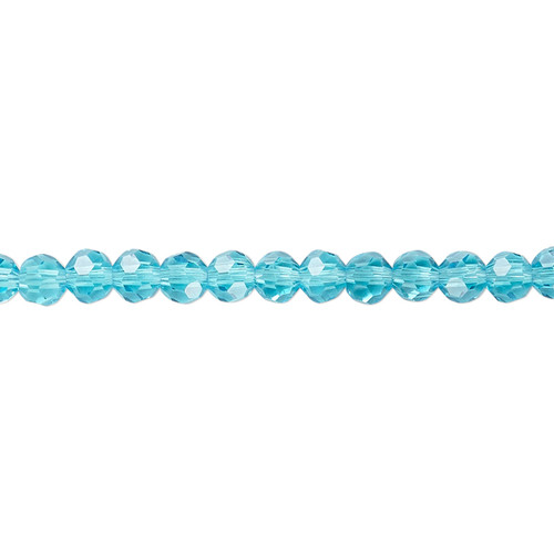 4mm - Celestial Crystal® - Transparent Turquoise Blue - 1 Strand (approx. 100 Pack)  - 32 Facet Round