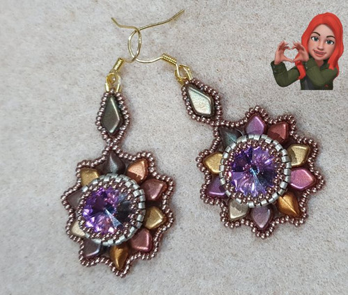 Free Download Pattern - Kite Flower earrings - designed by Christine Cavanagh