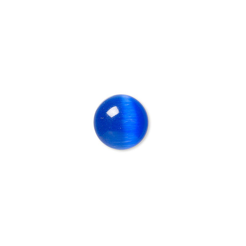 10mm - Blue - 10pk - Glass Cats Eye Cabochon - Calibrated Round - Quality Grade