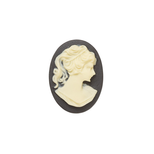 Cabochon, acrylic, ivory and black, 18x13mm right- or left-facing non-calibrated oval cameo with woman.