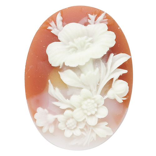 Cabochon, acrylic, peach and white, 40x30mm left-facing non-calibrated oval cameo with flower.