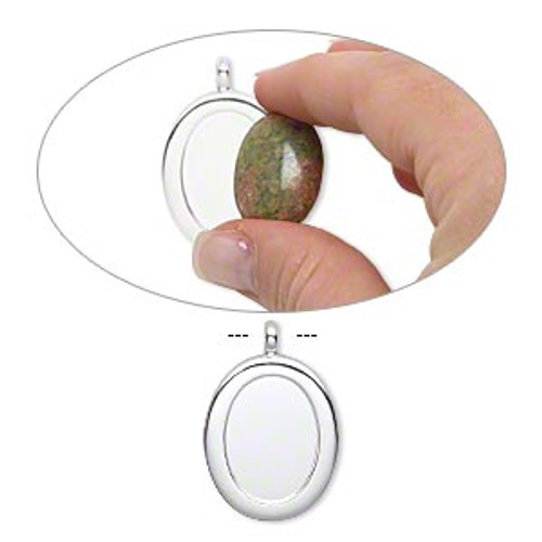 """Pendant, silver-plated """"pewter"""" (zinc-based alloy), 40x27mm single-sided oval with 25x18mm oval setting and tube bail."""