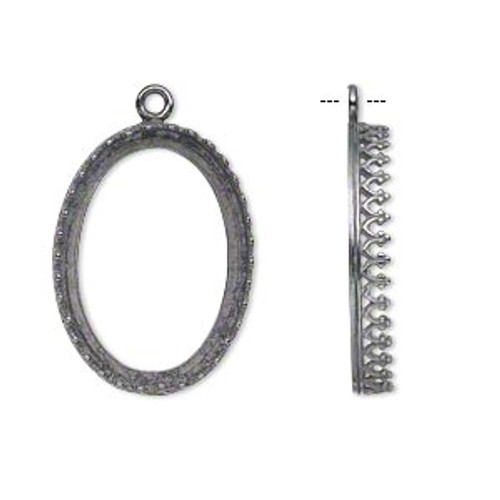 Drop, JBB Findings, gunmetal-plated brass, 27x20mm oval with open back and decorative trim, 25x18mm oval bezel setting.