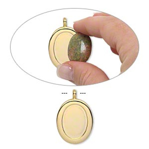 """Pendant, gold-plated """"pewter"""" (zinc-based alloy), 40x27mm single-sided oval with 25x18mm oval setting and tube bail."""