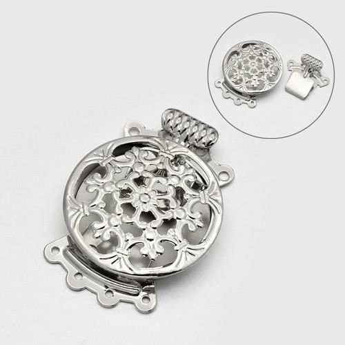 31x23x7mm - Platinum - 1 pack -  Filigree Flat Round 8-Hole Brass Box Clasps
