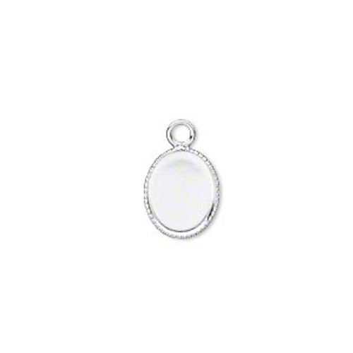 11x9mm - silver-plated brass - 24 pack - Drop oval with beaded edge and 10x8mm oval bezel cup setting