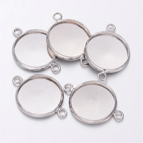 21.5x16x2.5mm - Platinum - 10 pack - Plated Brass Bezel Connector Link Setting for Cameo Cabochon, Plain Edge Bezel Cups, Flat Round, Lead, Cadmium & Nickel Free, Tray: 14mm; , Hole: 1.5mm