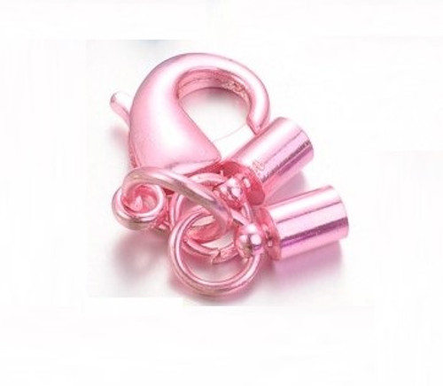 44mm - Pink - 6 pack - Rack Plating Lobster Clasp with matching Column Cord ends