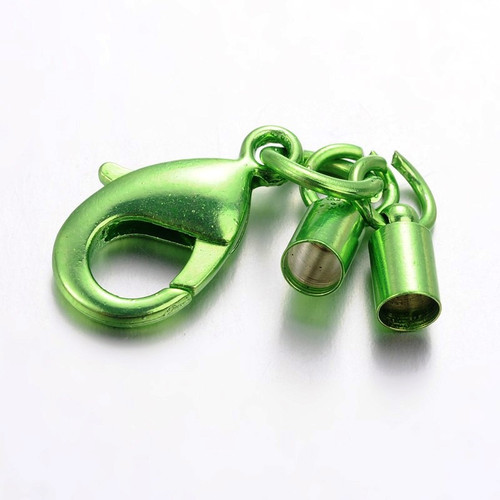 44mm - Green - 6 pack - Rack Plating Lobster Clasp with matching Column Cord ends