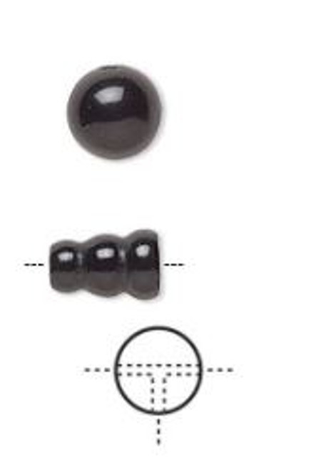 8mm - Black Onyx - 1pack (1 Set) - T-Drilled Round and cone- Dyed - B-Grade - (Mohs Hardness 6 1/2 to 7)