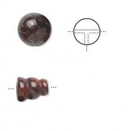8mm - brecciated Jasper - 1pack (1 Set) - T-Drilled Round and cone- Natural - B-Grade - (Mohs Hardness 6 1/2 to 7)