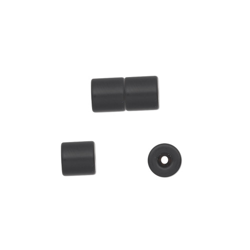 12x6mm - Black - 4 pack (4 Sets) - Clasp - Magnetic Barrel - Steel and Epoxy - 1mm inside diameter.