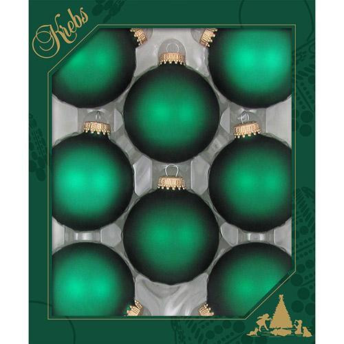 "2 5/8"" (67mm) - Green Velvet - Made in the USA Designer Seamless Glass Ball Christmas Ornament - Sold individually"
