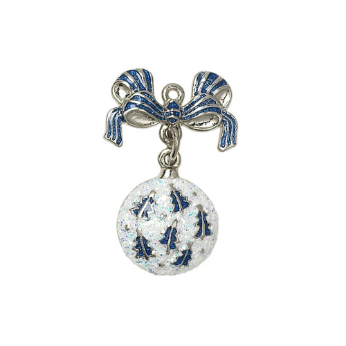 25x17mm - Silver Plated, Blue and White Enamel - 1 pack - Single sided Ornament Charm