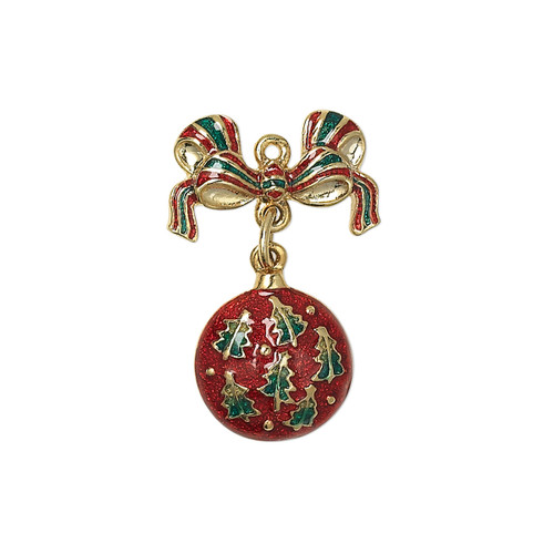 25x17mm - Gold Plated, Red and Green Enamel - 1 pack - Single sided Ornament Charm