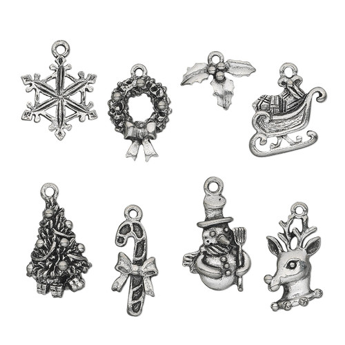 12.5x9mm-22.5x17.5mm - Antiqued Pewter - 8 pack - Mixed Christmas Charms