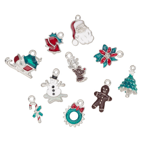 18x8mm-20x16mm - Enamel & Pewter - 10 pack - Mixed Christmas Charms