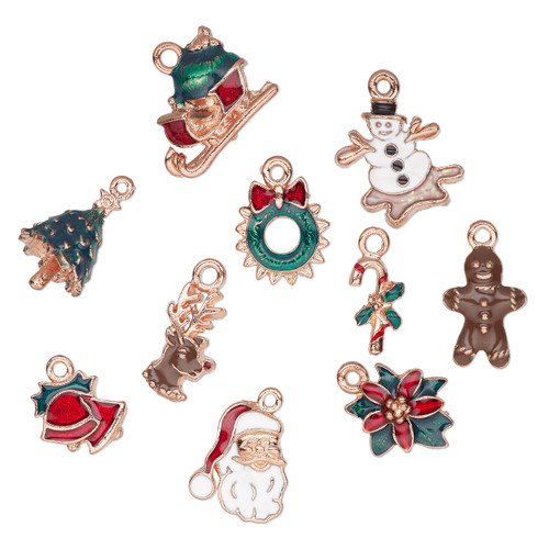 18x8mm-20x16mm - Enamel & Copper Plated Pewter - 10 pack - Mixed Christmas Charms