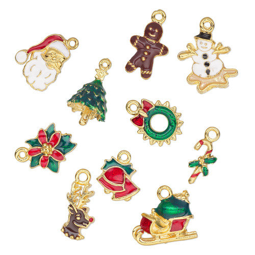 18x8mm-20x16mm - Enamel & Gold Plated Pewter - 10 pack - Mixed Christmas Charms