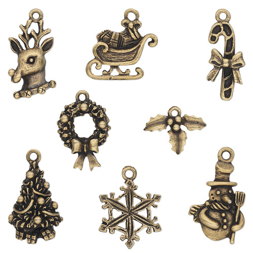 12.5x9.5mm-23x17.5mm - Brass Plated Pewter - 8 pack - Mixed Christmas Charms