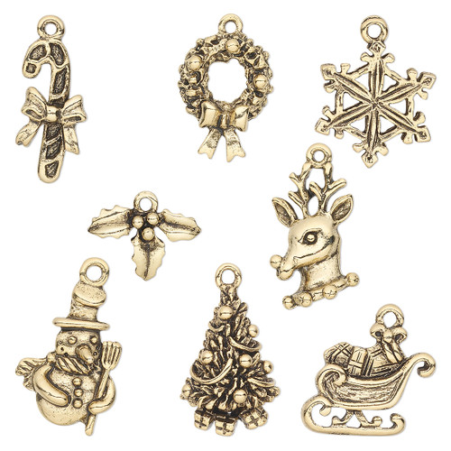 12.5x9.5mm-23x17.5mm - Gold Plated Pewter - 8 pack - Mixed Christmas Charms