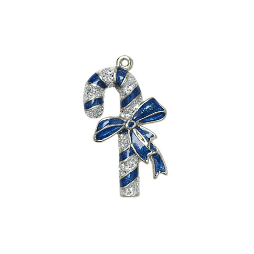 23x14mm - Silver Plated, Blue and Silver Enamel - 1 pack - Single sided Candy Cane Charm