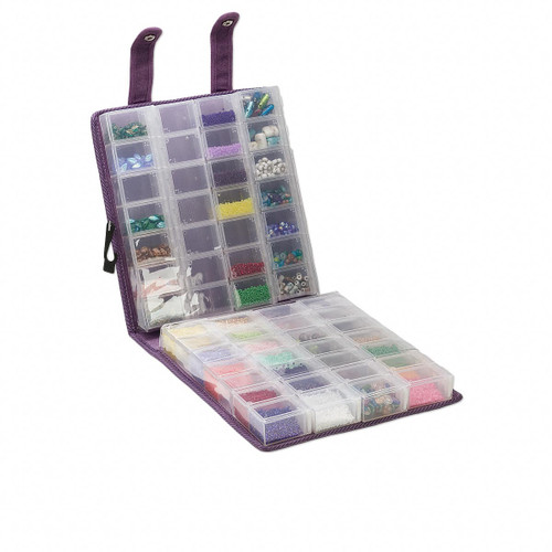 Craft Mates™ EZY Lock™ Double Snappin organizer™ - Super Mega size, ultra-suede, purple, 8-locking caddies, 9-1/2 x 9 x 2-3/4 inches. Sold individually.