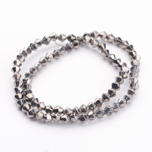 4mm - Handmade - Metalized Silver Plate - 2 strands - (approx 120pcs) - Glass Bicone