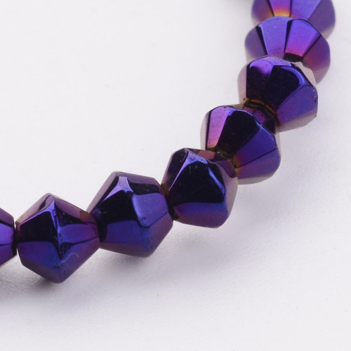 4mm - AB Electroplated - Purple - 2 strands - (approx 120pcs) - Glass Bicone