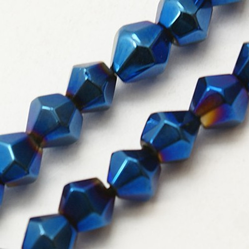 4mm - AB Electroplated - Blue - 2 strands - (approx 120pcs) - Glass Bicone