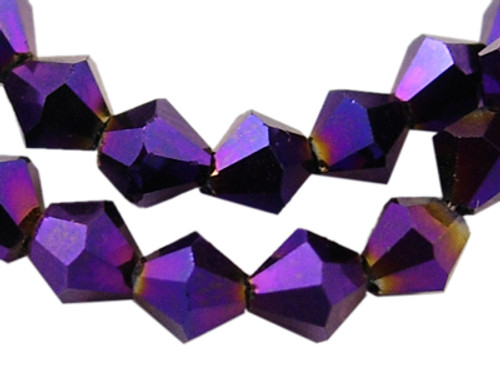 4mm - AB Electroplated - Dark Violet - 2 strands - (approx 120pcs) - Glass Bicone