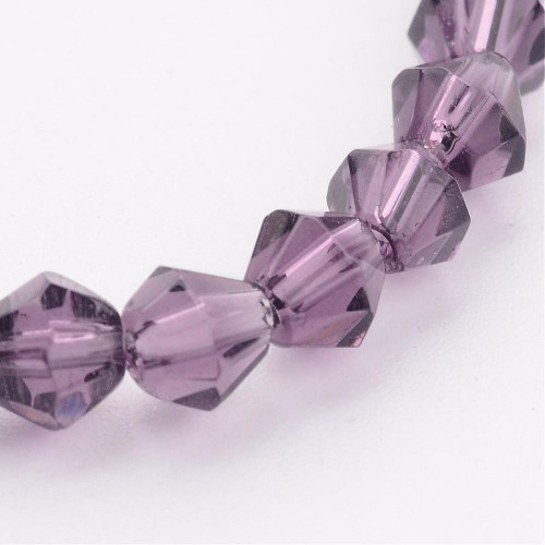 4mm - Imperial Glass - Amethyst - 2 strands - (approx 180pcs) - Glass Bicone